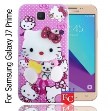 KC Mirror Kitten with Baby Bear Diamonds Studs Back Cover for Samsung Galaxy J7 Prime (SM-G610F) - Pink